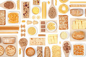 large cereal selection on white background top view