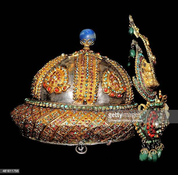 Ceremonial Crown and Breastplate Made in Nepal about 185090 Emeralds rubies lapis and diamonds on hammered silver The paisleyshaped pendants on the...