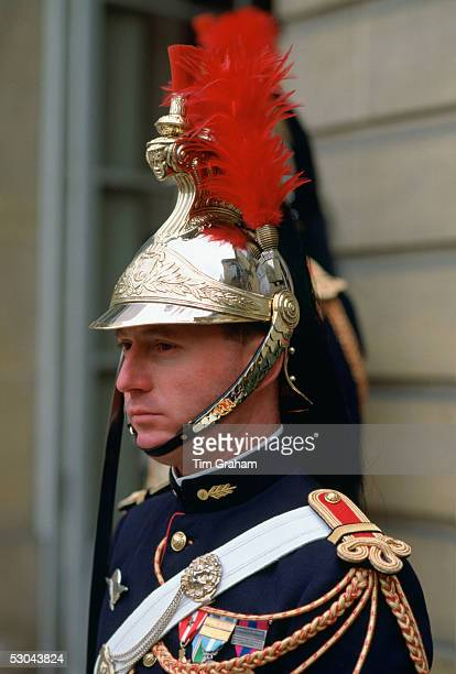 A ceremonial guard at the Elysee Palace in Paris France