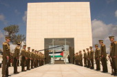 A ceremonial guard stands watch on Saturday November 10 outside the new $175 million mausoleum holding the grave of Yasser Arafat at the Palestinian...