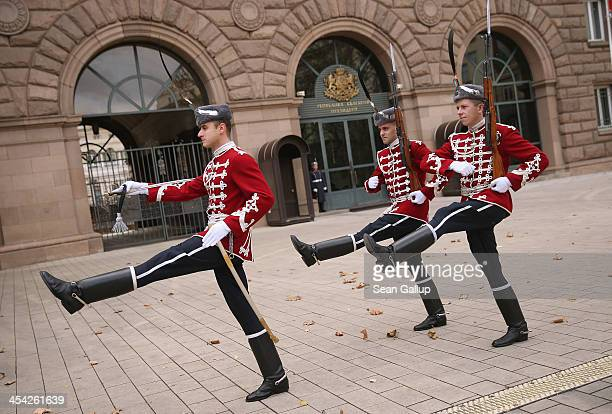 Ceremonial guards rotate their shift at the Presidential Palace December 7 2013 in Sofia Bulgaria Restrictions on the freedom of Bulgarians and...