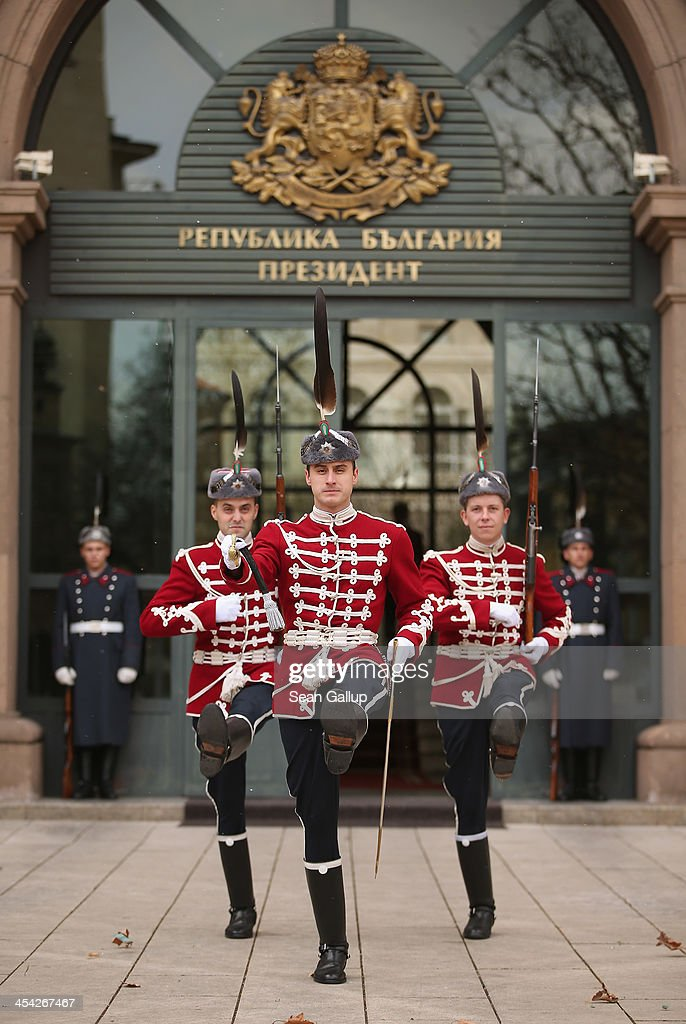 Ceremonial guards rotate their shift at the Presidential Palace December 7, 2013 in Sofia, Bulgaria. Sofia is becoming an increasingly popular tourit destination.