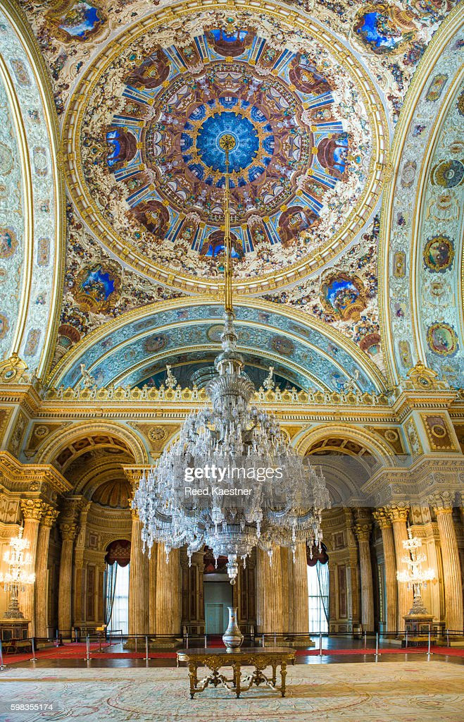 Ceremonial Hall And World S Largest Chandelier Dolmabahce Palace Stock Photo