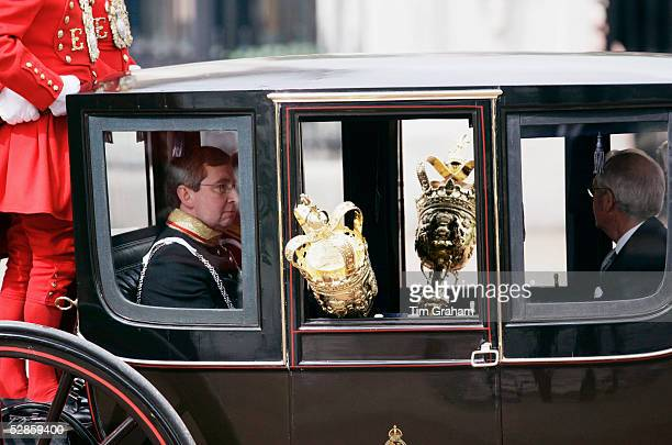 Ceremonial maces are taken to the State Opening of Parliament Ceremony in the Queen Alexandra State Coach on May 17 2005 in London England In a...