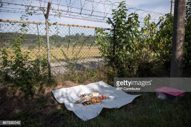 A ceremonial offering to relatives in North Korea is displayed near the Demilitarized Zone at Imjingak on October 4 2017 South Korea is observing the...