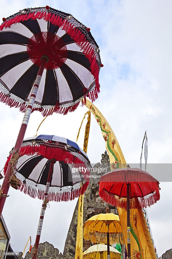 Ceremonial temple umbrellas, Ubud, Bali, Indonesia : Stock Photo