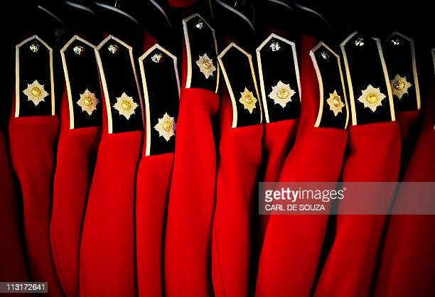 Ceremonial uniforms for the Irish Guards regiment are pictured at Victoria barracks in Windsor on April 21 2011 Irish Guards soldiers who have...