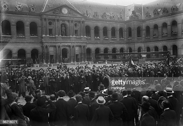Ceremony in the court of the Invalides in the honor of the foreign volunteers of the war 19141918 Paris about 1920