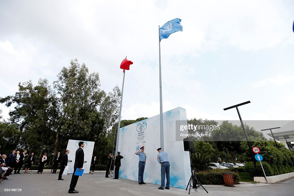 A ceremony is held for the raising of the United Nations flag at the Titanic Hotel where Midterm Review of the Istanbul Programme of Action, in Antalya, Turkey on May 25, 2016. The Midterm Review conference for the Istanbul Programme of Action for the Least Developed Countries will take place in Turkey's Antalya from 27-29 May 2016.