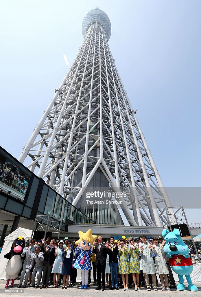 A ceremony to celebrate first anniversary of Tokyo Skytree opening on May 22, 2013 in Tokyo, Japan. The world's tallest broadcasting tower has been attracting visitors, Tokyo Skytree Town, shopping complex underneath the tower achieved 50 million visitors.