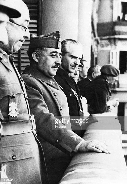Cerermony of the Association of the Nationalists in Zaragoza On the balcony of the Hotel Ciudad de Zaragoza General Jose Moscardo Ituarte military...