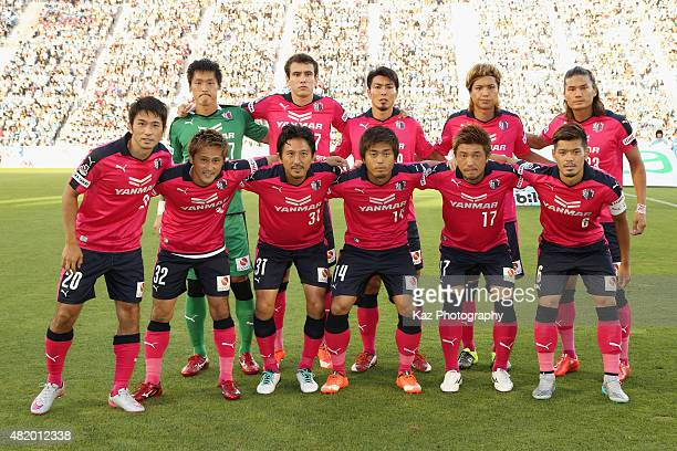 Cerezo Osaka players line up for the team photos prior to the JLeague second division match between Jubilo Iwata and Cerezo Osaka at Yamaha Stadium...