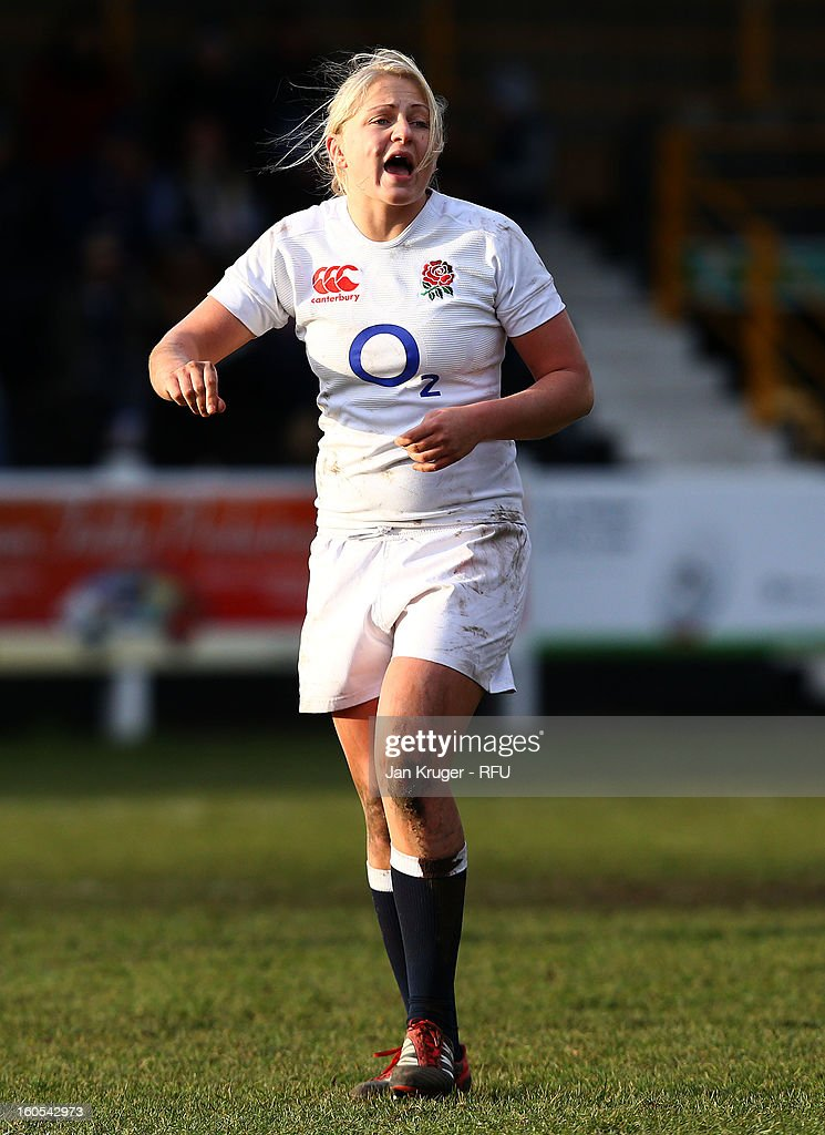 Ceri Large of England Women in action during the Womens Six Nations match between England and Scotland at Esher RFC on February 2, 2013 in Esher, England.