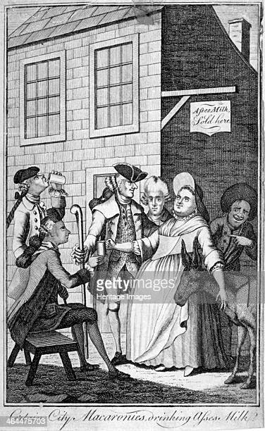 'Certain City macaronis drinking asses' milk' c1770 A woman with her hand round an ass's neck handing out mugs of milk to finely dressed men whilst a...