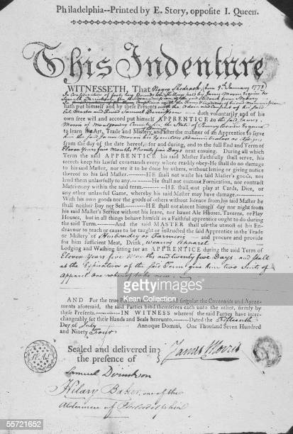 Certificate of Indenture describes the conditions under which a former slave Shadrach will be apprenticed to Pennsylvania farmer James Morris July 15...