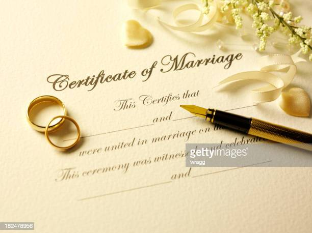 Certificate of Marriage and Pen