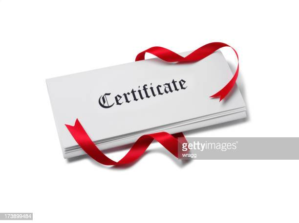 Certificate on Paper with Red Ribbon
