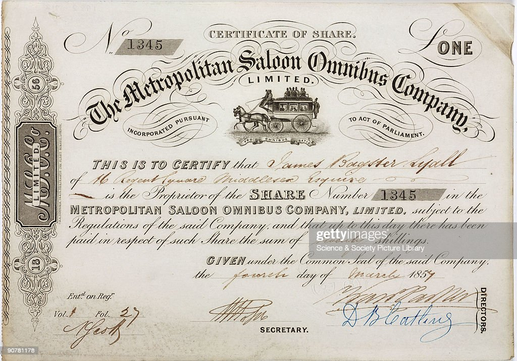 Share certificate of the Metropolitan Saloon Bus Company 1857 – Company Share Certificates