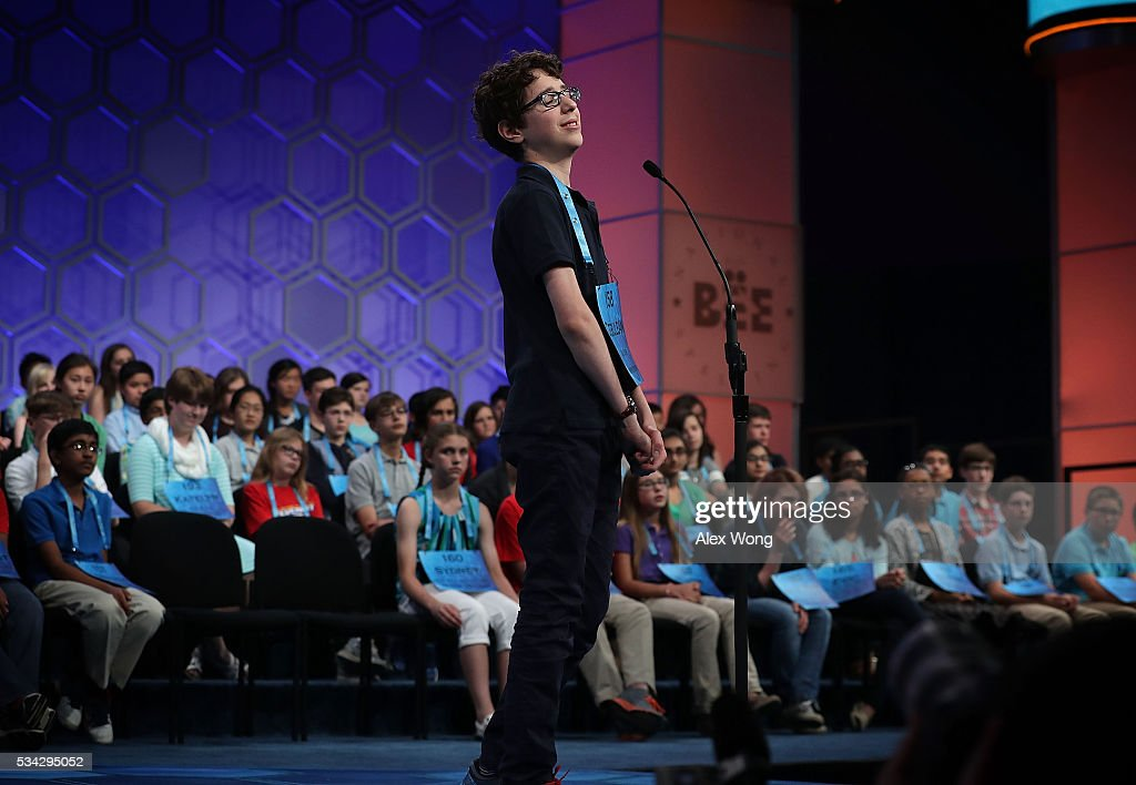 Cerulean Ozarow of Brooklyn, New York, reacts after misspelling a word in round three of the 2016 Scripps National Spelling Bee May 25, 2016 in National Harbor, Maryland. Students from across the country gathered to compete for top honor of the annual spelling championship.