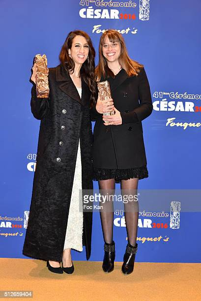 Cesar 2016 Awarded Director Deniz Gamze Erguven and screenwriter Alice Winocour attend the Dinner at Le Fouquet' after the Cesar Film Awards 2016 on...