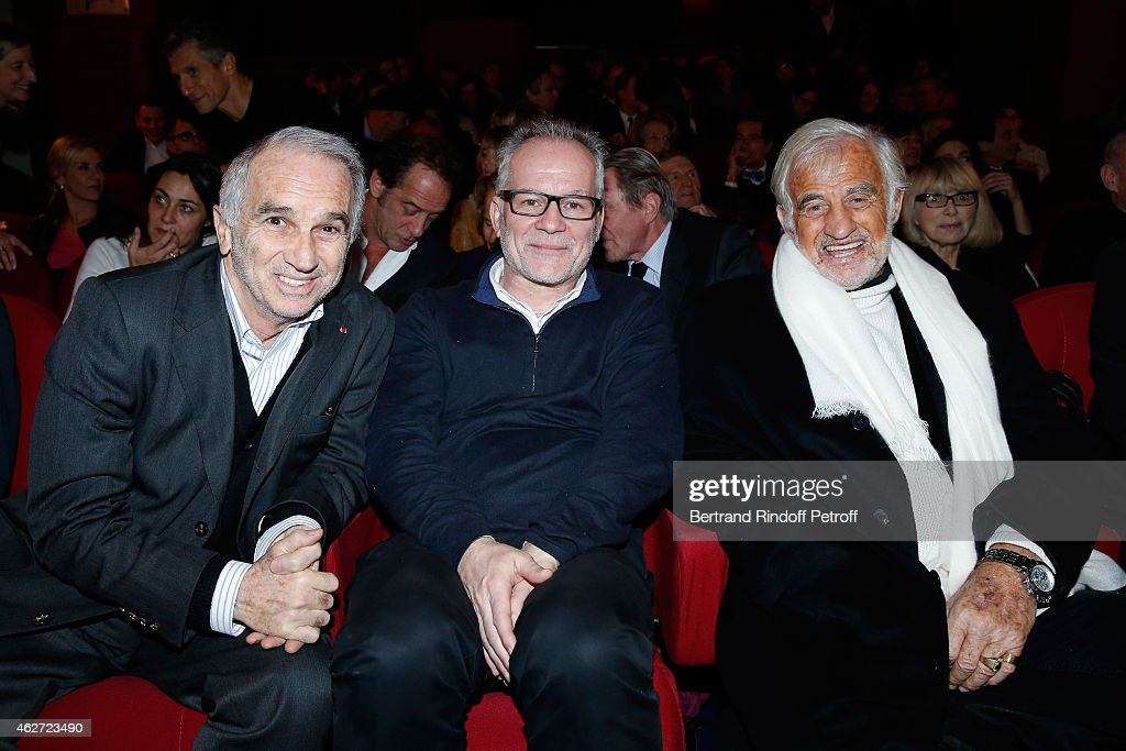 Cesar Academy President <a gi-track='captionPersonalityLinkClicked' href=/galleries/search?phrase=Alain+Terzian&family=editorial&specificpeople=2455092 ng-click='$event.stopPropagation()'>Alain Terzian</a>, Cannes Film Festival Delegate General Thierry Fremaux and Actor Jean Paul Belmondo attend the Private Screening of the Movie 'Tout Peut Arriver' at Mac Mahon Cinema on February 3, 2015 in Paris, France. This film is the first film of Philippe Labro. It will be broadcast on the TV channel D8 Sunday, February 22, 2015