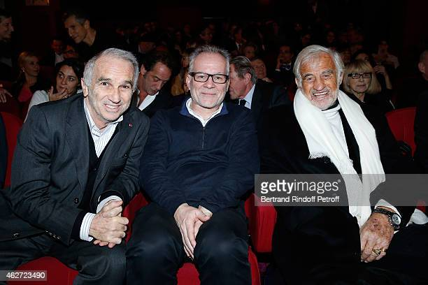 Cesar Academy President Alain Terzian Cannes Film Festival Delegate General Thierry Fremaux and Actor Jean Paul Belmondo attend the Private Screening...