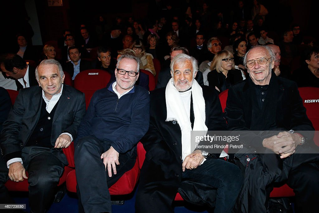 Cesar Academy President Alain Terzian, Cannes Film Festival Delegate General Thierry Fremaux, Actor Jean Paul Belmondo and Christian Brincourt attend the Private Screening of the Movie 'Tout Peut Arriver' at Mac Mahon Cinema on February 3, 2015 in Paris, France. This film is the first film of Philippe Labro. It will be broadcast on the TV channel D8 Sunday, February 22, 2015