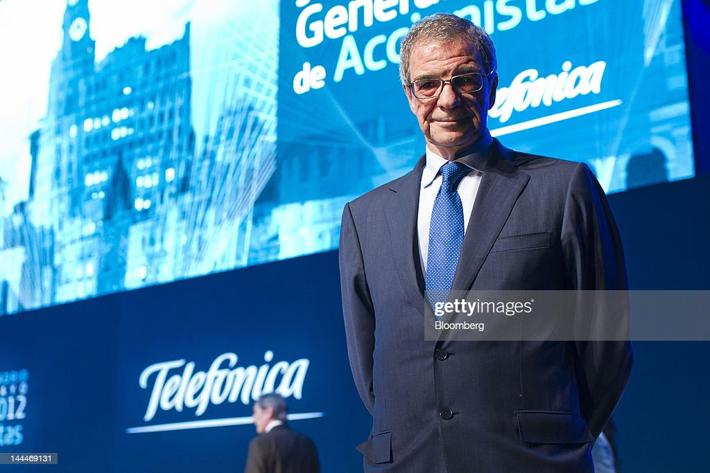 <a gi-track='captionPersonalityLinkClicked' href=/galleries/search?phrase=Cesar+Alierta&family=editorial&specificpeople=682663 ng-click='$event.stopPropagation()'>Cesar Alierta</a>, chief executive officer of Telefonica SA, poses for a photograph after the company's annual general meeting in Madrid, Spain, on Monday, May 14, 2012. As Spain struggles to emerge from its worst economic crisis in decades, Alierta needs to boost Telefonica's Latin American business because customers in the company's home market switch to cheaper rivals including Jazztel Plc and TeliaSonera AB's Yoigo. Photographer: Angel Navarrete/Bloomberg via Getty Images