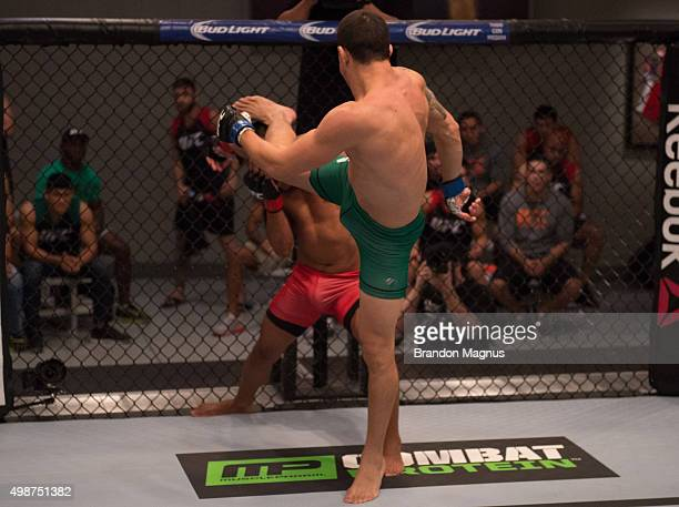 Cesar Arsamendia kicks Enrique Barzola in their semifinals fight during the filming of The Ultimate Fighter Latin America Team Gastelum vs Team...