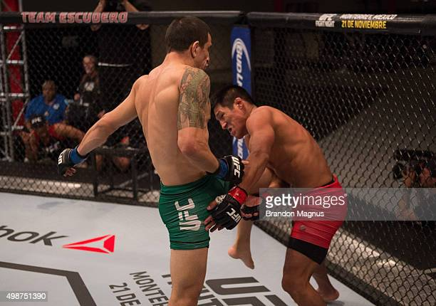 Cesar Arsamendia knees Enrique Barzola in their semifinals fight during the filming of The Ultimate Fighter Latin America Team Gastelum vs Team...