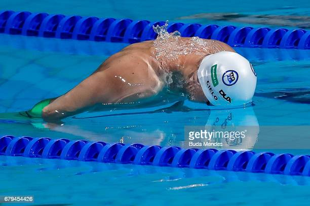 Cesar Augusto Cielo Filho of Brazil competes in the Men's 200m butterfly final during Maria Lenk Swimming Trophy 2017 Day 4 at Maria Lenk Aquatics...