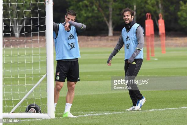 Cesar Azpilicueta and Cesc Fabregas of Chelsea during a training session at Chelsea Training Ground on April 28 2017 in Cobham England