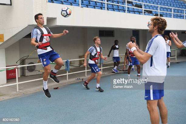 Cesar Azpilicueta and Marcos Alonso of Chelsea during a training session at the AOTI Stadium on July 20 2017 in Beijing China
