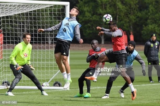 Cesar Azpilicueta and Michy Batshuayi of Chelsea during a training session at Chelsea Training Ground on April 28 2017 in Cobham England