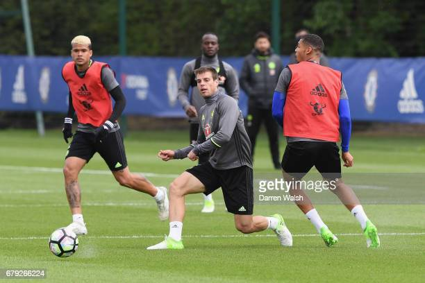 Cesar Azpilicueta and Ruben LoftusCheek of Chelsea during a training session at Chelsea Training Ground on May 5 2017 in Cobham England