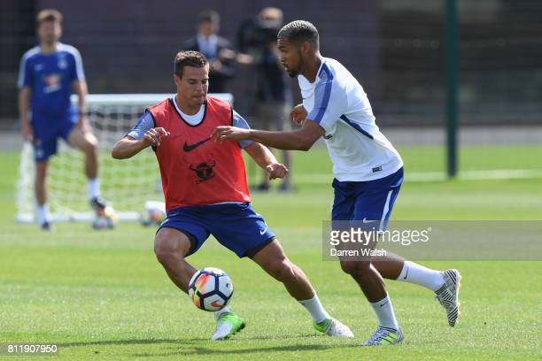 Cesar Azpilicueta and Ruben LoftusCheek of Chelsea during a training session at Chelsea Training Ground on July 10 2017 in Cobham England