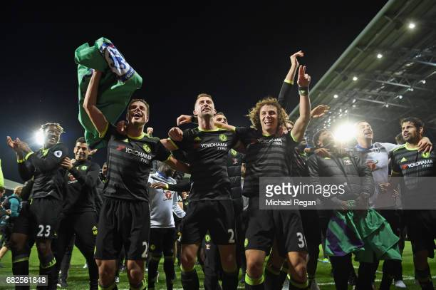 Cesar Azpilicueta Gary Cahill and David Luiz celebrate winning the league after the Premier League match between West Bromwich Albion and Chelsea at...