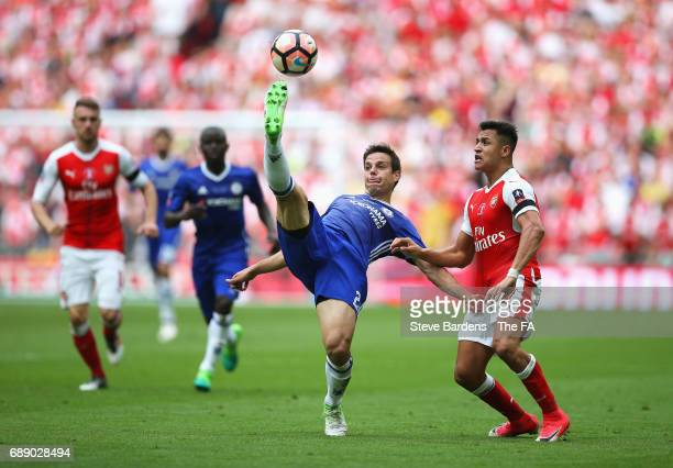 Cesar Azpilicueta of Chelsea and Alexis Sanchez of Arsenal battle for the ball during the Emirates FA Cup Final between Arsenal and Chelsea at...