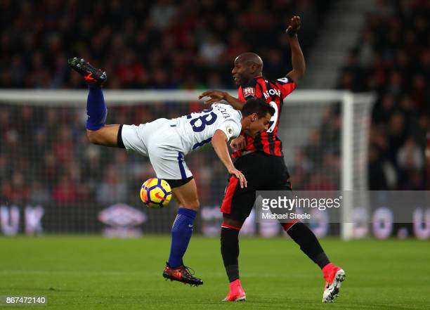 Cesar Azpilicueta of Chelsea and Benik Afobe of AFC Bournemouth battle for possession during the Premier League match between AFC Bournemouth and...
