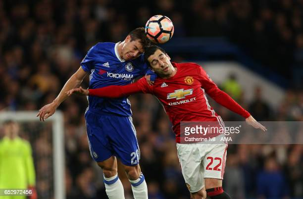 Cesar Azpilicueta of Chelsea and Henrikh Mkhitaryan of Manchester United during The Emirates FA Cup QuarterFinal match between Chelsea and Manchester...
