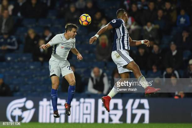 Cesar Azpilicueta of Chelsea and Jose Salomon Rondon of West Bromwich Albion compete for the ball during the Premier League match between West...