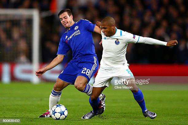 Cesar Azpilicueta of Chelsea and Yacine Brahimi of FC Porto during the UEFA Champions League Group G match between Chelsea FC and FC Porto at...