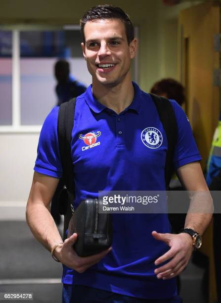 Cesar Azpilicueta of Chelsea arrives prior to The Emirates FA Cup QuarterFinal match between Chelsea and Manchester United at Stamford Bridge on...