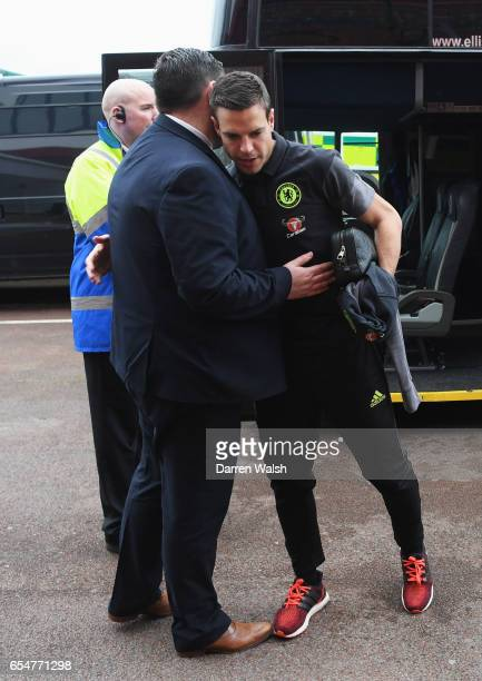 Cesar Azpilicueta of Chelsea arrives prior to the Premier League match between Stoke City and Chelsea at Bet365 Stadium on March 18 2017 in Stoke on...