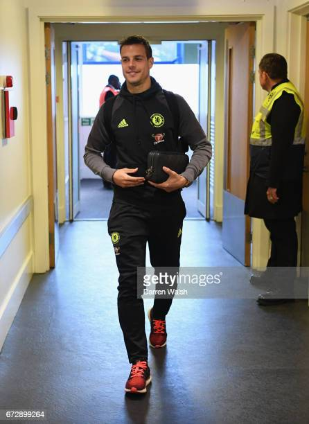 Cesar Azpilicueta of Chelsea arrives prior to the Premier League match between Chelsea and Southampton at Stamford Bridge on April 25 2017 in London...