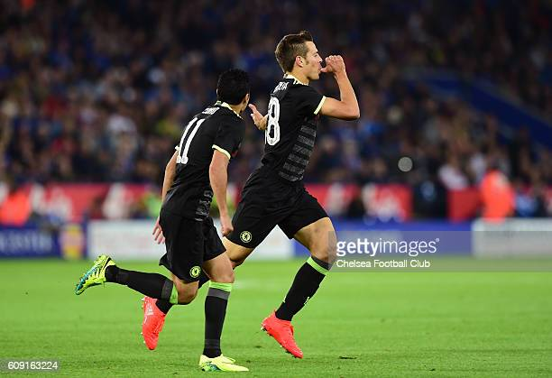 Cesar Azpilicueta of Chelsea celebrates after scoring his sides second goal during the EFL Cup Third Round match between Leicester City and Chelsea...