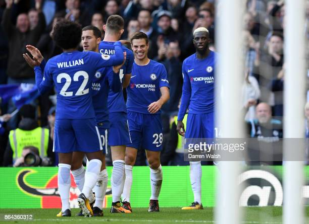 Cesar Azpilicueta of Chelsea celebrates his side's third goal with team during the Premier League match between Chelsea and Watford at Stamford...
