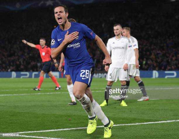 Cesar Azpilicueta of Chelsea celebrates scoring a goal during the UEFA Champions League group C match between Chelsea FC and Qarabag FK at Stamford...