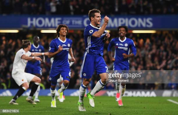 Cesar Azpilicueta of Chelsea celebrates scoring his sides second goal during the Premier League match between Chelsea and Watford at Stamford Bridge...