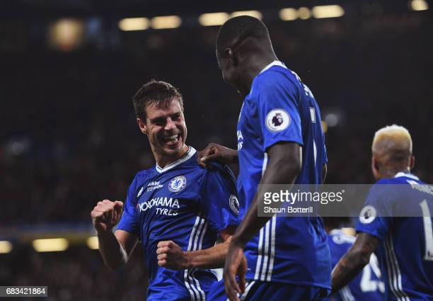 Cesar Azpilicueta of Chelsea celebrates scoring his sides second goal with Kurt Zouma of Chelsea during the Premier League match between Chelsea and...